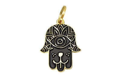 Pet I.D. Tag - Black & Gold Hamsa Hand