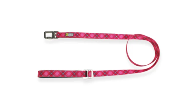 Pink Plaid Silicone Leash