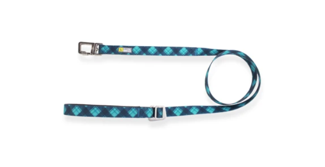 Teal/Blue Plaid Silicone Leash