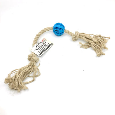 ALL-NATURAL HEMP ROPE TUG TOY WITH RUBBER DENTAL BALL