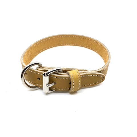 Single Stitch Leather Collar - Tan