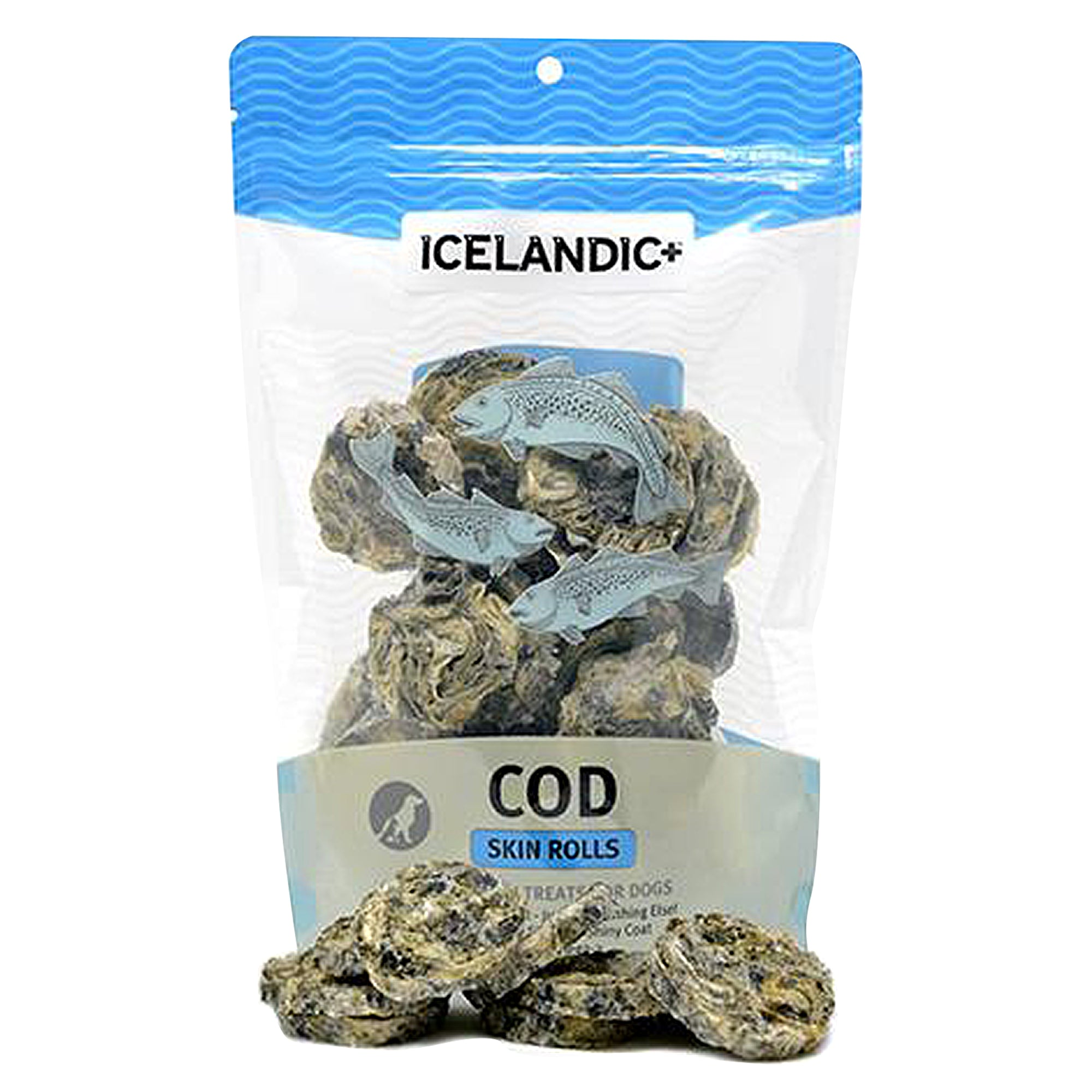 ICELANDIC+ All-Natural Cod Skin Rolls (30pcs) Front of Package