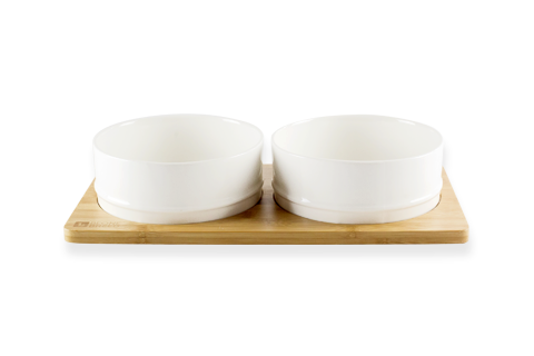 Bamboo & Ceramic Feeding Bowl set