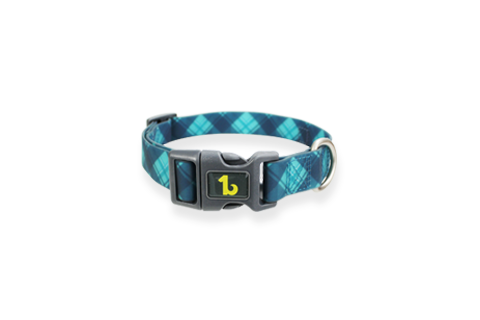 Teal/Blue Plaid Silicone Collar