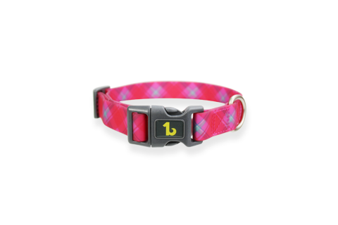 Pink Plaid Silicone Collar