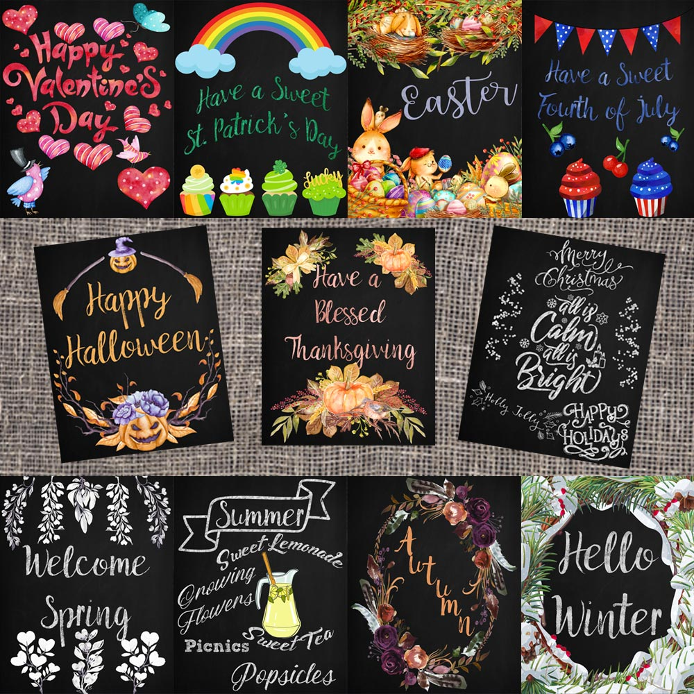 Bundle of Holiday & Seasonal Chalkboard Printables