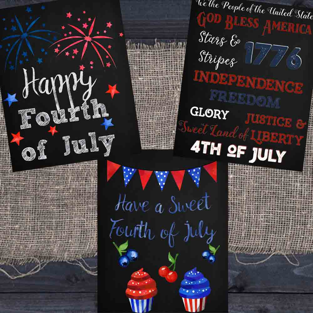 Fourth of July Chalkboard Printables