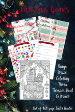 Load image into Gallery viewer, Printable Christmas Binder. 160 pages of fabulous Christmas content, including 2 planners, games (maze, treasure hunt, scavenger hunt, bingo, and more), decor, food & drink decorations, recipes, & more.