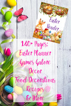 Load image into Gallery viewer, Easter Binder. 140+ pages of fabulous Easter content, including planner, games (maze, treasure hunt, scavenger hunt, bingo, and more), decor, food & drink decorations, and more.