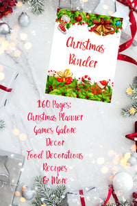 Printable Christmas Binder. 160 pages of fabulous Christmas content, including 2 planners, games (maze, treasure hunt, scavenger hunt, bingo, and more), decor, food & drink decorations, recipes, & more.