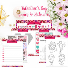 Load image into Gallery viewer, Valentine's Day Binder. 140+ pages of fabulous Valentine's content, including planner, games (maze, treasure hunt, scavenger hunt, bingo, and over 10 more), cards, decor, and more.