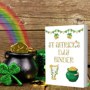 Printable St. Patrick's Day Binder. 130+ pages that include everything you need for a fabulous holiday: Planner, Games & Activities- including treasure hunt, coloring pages, maze, Bingo, more! Decor- banners, wall art, place cards, napkin rings, and more. And food & drink tags- wine/soda bottle tags, cupcake toppers, water bottle wrappers, etc.
