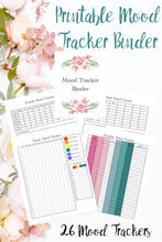 Load image into Gallery viewer, Printable mood tracker binder. 26 different mood trackers. Daily, weekly, monthly, & yearly. Monthly themed & more.