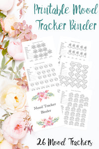 Printable mood tracker binder. 26 different mood trackers. Daily, weekly, monthly, & yearly. Monthly themed & more.