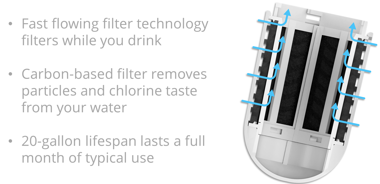 Fast flowing filter technology filters while you drink. Carbon-based filter removes particles and chlorine taste from your water. 30-gallon lifespan lasts a full month of typical use.