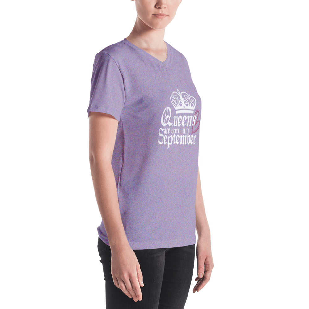 QABIS Petal Purple V-neck