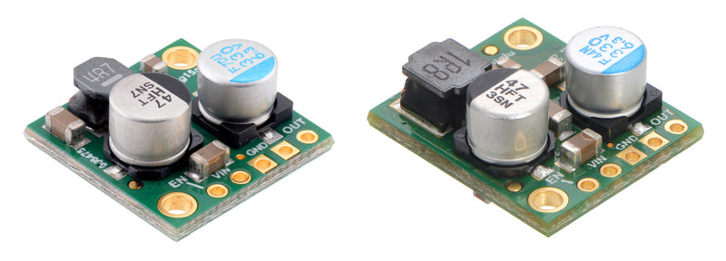 Side-by-side comparison of the 2.5 A D24V25Fx (left) and 5 A D24V50F5 (right) step-down voltage regulators.