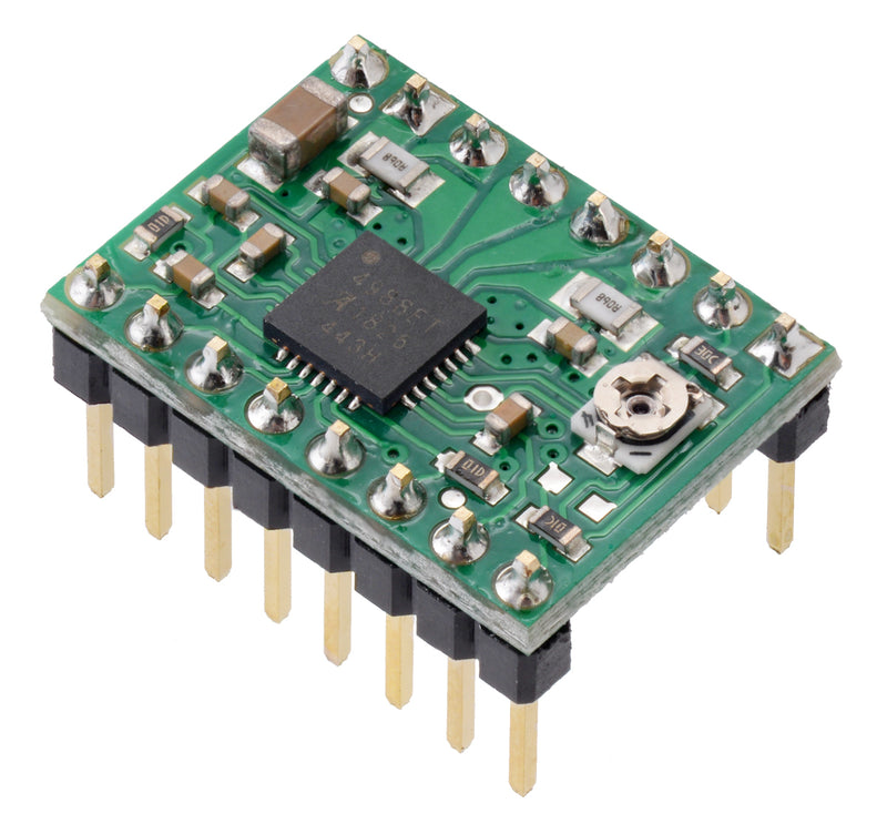 Pololu A4988 stepper motor driver carrier with included header pins soldered.
