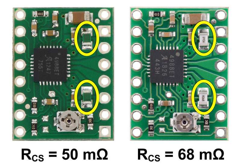 Identification of original 50 mΩ sense resistors (left) and 68 mΩ sense resistors (right) introduced in January 2017.