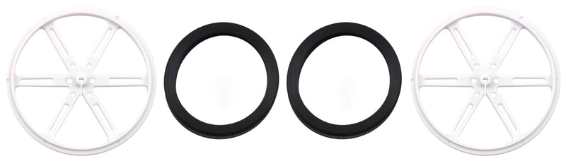 Parts included with Pololu Wheel 90x8mm Pair - White.