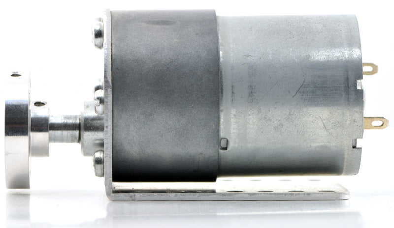 37D mm gearmotor (without encoder) with L-bracket and 6mm universal mounting hub.