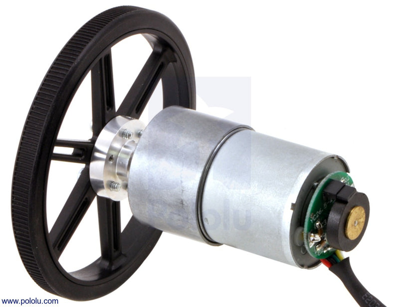 37D mm metal gearmotor with 64 CPR encoder (no end cap) and Pololu 90x10mm wheel.