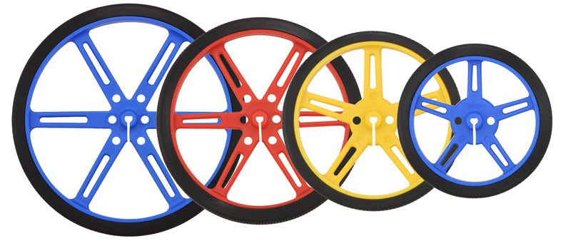 Pololu Wheels with 90, 80, 70, and 60 mm diameters in three colors: blue, red, and yellow.