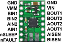 DRV8833 dual motor driver carrier, labeled top view.