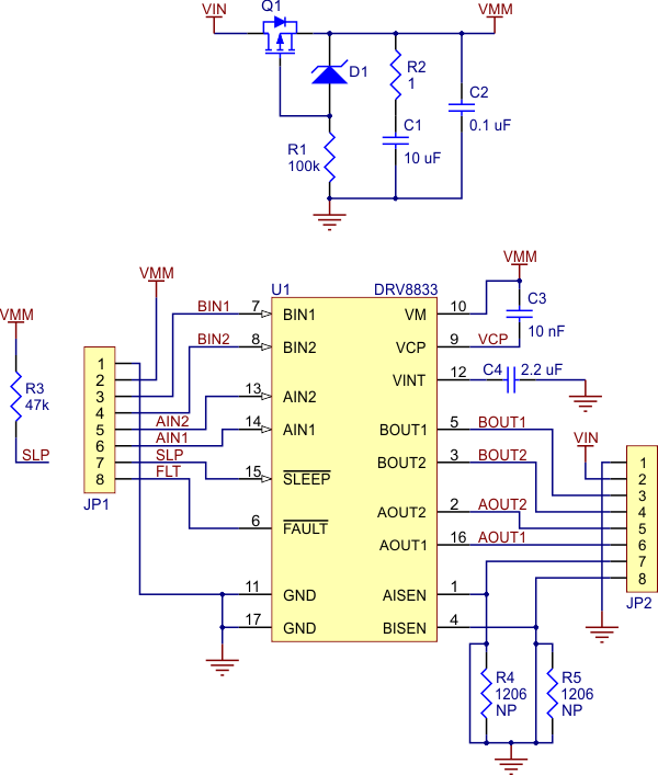 Schematic diagram of the DRV8833 dual motor driver carrier.