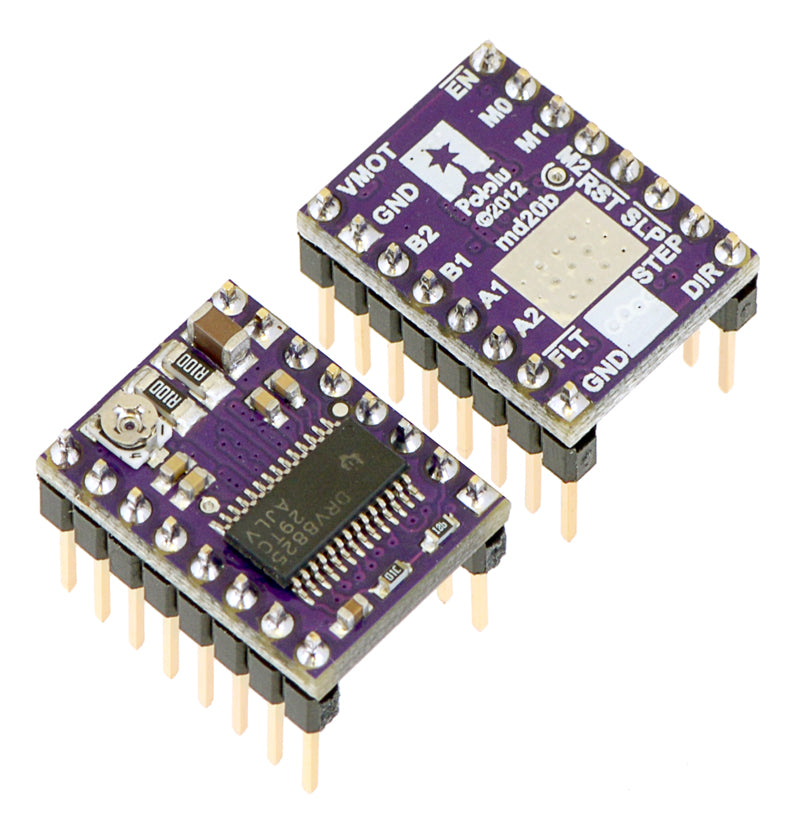 DRV8824/DRV8825 stepper motor driver carriers with included header pins soldered.