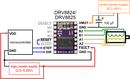 Alternative minimal wiring diagram for connecting a microcontroller to a DRV8824/DRV8825 stepper motor driver carrier (full-step mode).