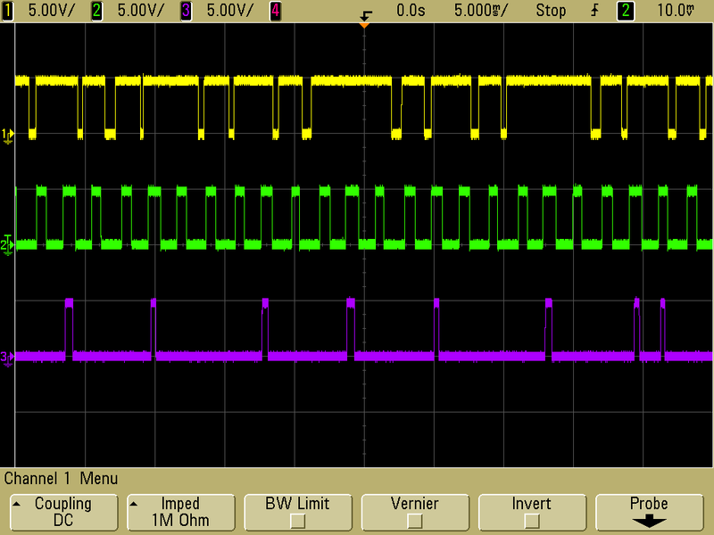 Oscilloscope capture of typical Pololu 38 kHz IR proximity sensor output when it is weakly, moderately, and strongly affected by fluorescent lights (top to bottom).