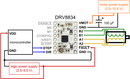 Alternative minimal wiring diagram for connecting a microcontroller to a DRV8834 stepper motor driver carrier (1/4-step mode).