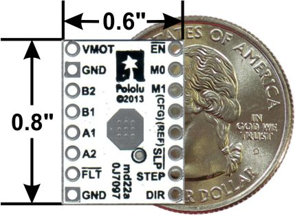 DRV8834 low-voltage stepper motor driver carrier with dimensions.