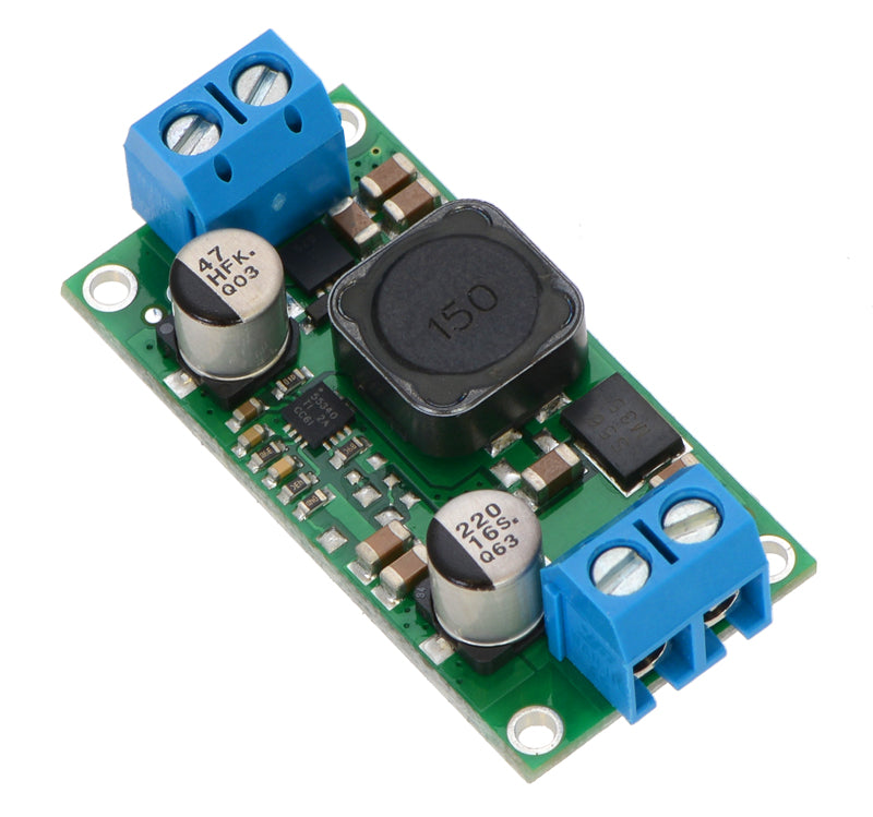 Pololu fixed step-up/step-down voltage regulator S18V20Fx, assembled with included terminal blocks.