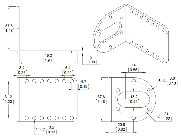 Mechanical drawing for the Pololu stamped aluminum L-bracket for 37D mm metal gearmotors.  Units are mm over [inches].
