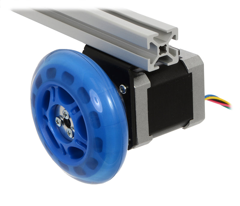 A stepper motor connected to a scooter wheel by the 5 mm scooter wheel adapter.