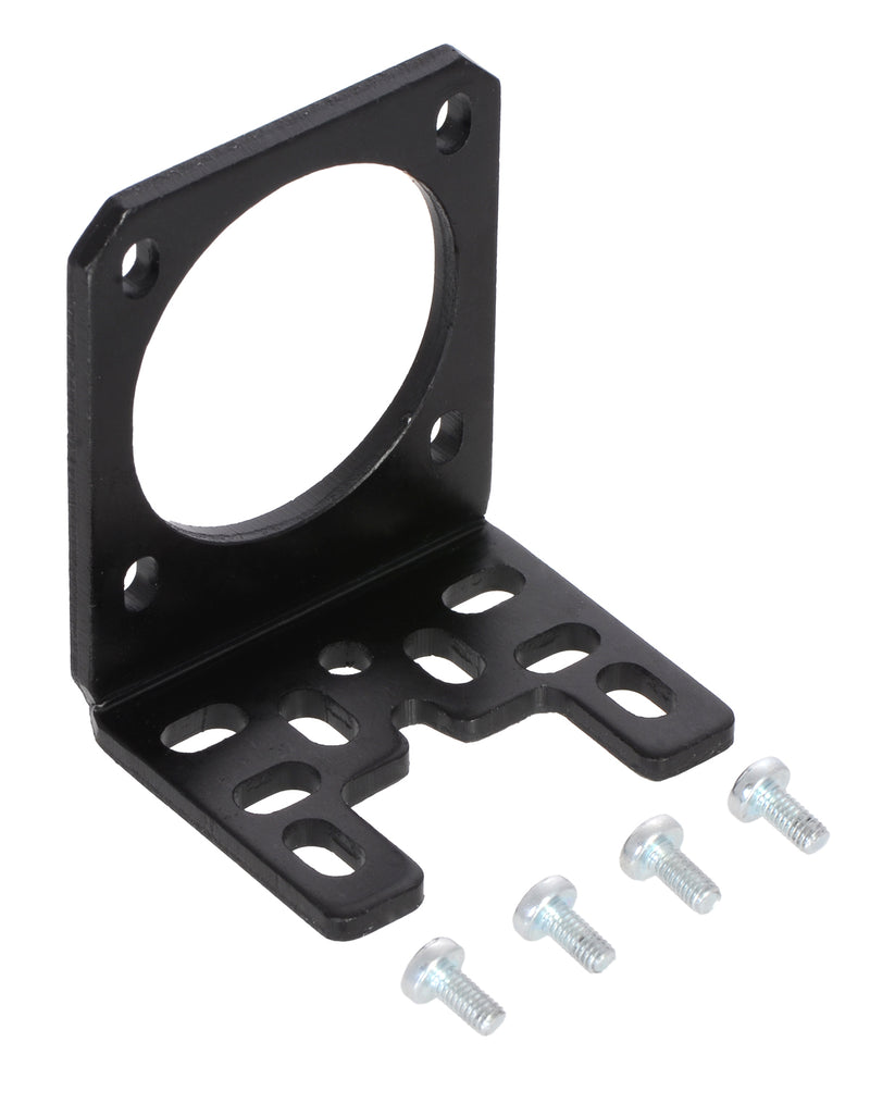 Pololu stamped aluminum L-bracket for NEMA 17 stepper motors with included M3 screws.