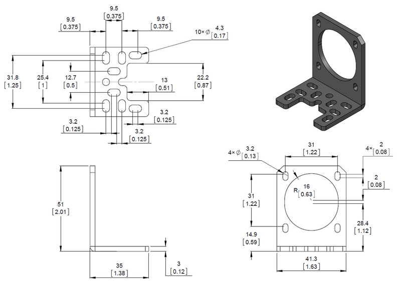 Dimension diagram of the Pololu stamped aluminum L-bracket for NEMA 17 stepper motors.  Units are mm over [inches].