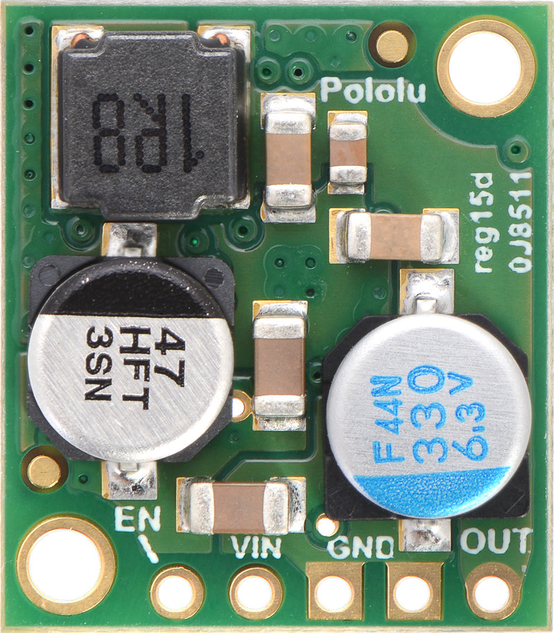 Pololu 5V, 5A Step-Down Voltage Regulator D24V50F5, top view.