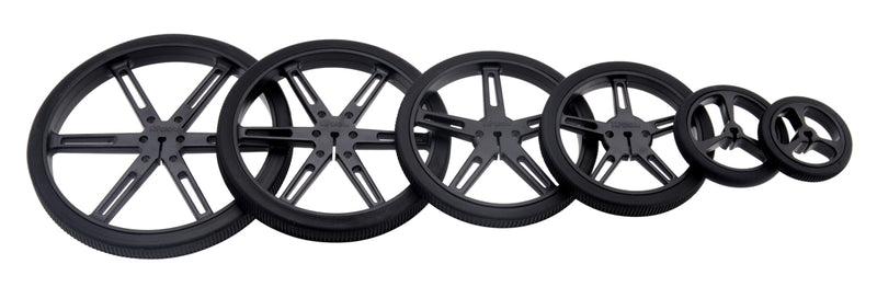 Black Pololu Wheels with 90, 80, 70, 60, 40, and 32 mm diameters (other colors available).