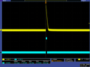 "QTR-1RC output (yellow) when 1/8"" above a white surface and microcontroller timing of that output (blue)."