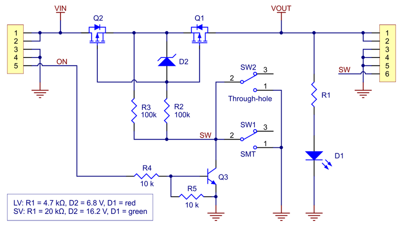 Schematic diagram of the Mini MOSFET Slide Switch with Reverse Voltage Protection.