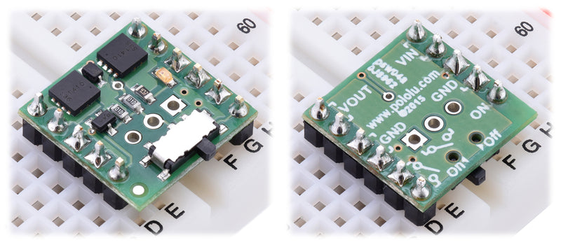 Two possible orientations for using the Mini MOSFET Slide Switch in a breadboard.