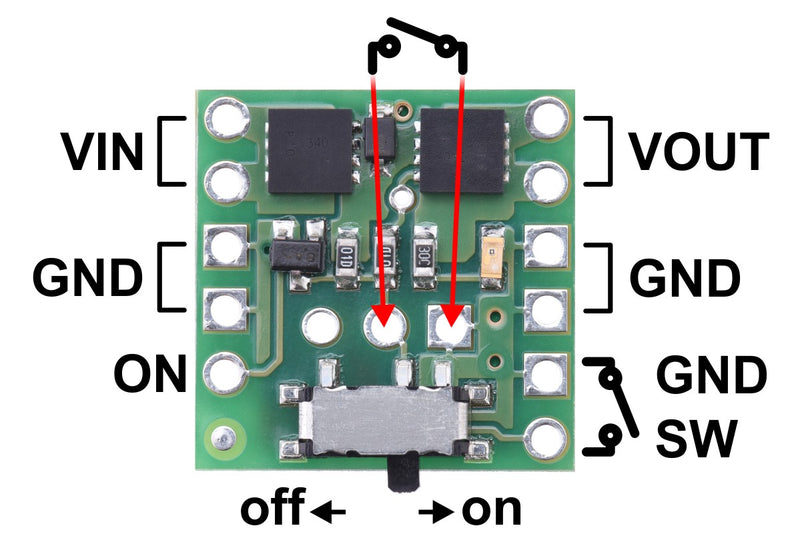 Pinout diagram of Mini MOSFET Slide Switch with Reverse Voltage Protection.