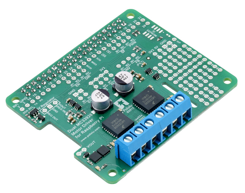 Pololu Dual MC33926 Motor Driver for Raspberry Pi, fully assembled.