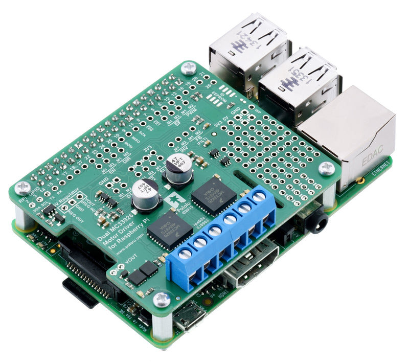 Pololu dual MC33926 motor driver (assembled) on a Raspberry Pi Model B+.
