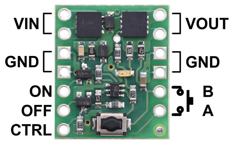 Pinout diagram of the Mini Pushbutton Power Switch with Reverse Voltage Protection.