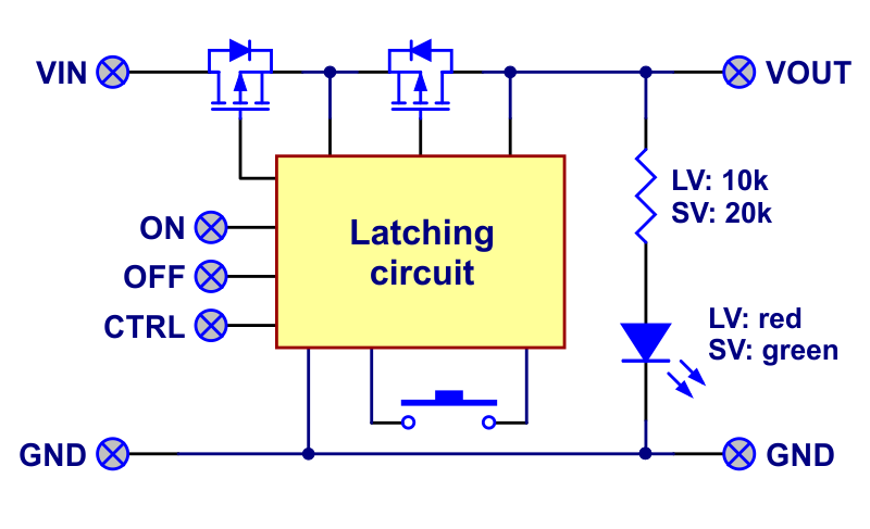 Block diagram of the Mini Pushbutton Power Switch with Reverse Voltage Protection.