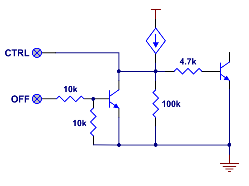 OFF and CTRL input structures of Pushbutton Power Switch with Reverse Voltage Protection.